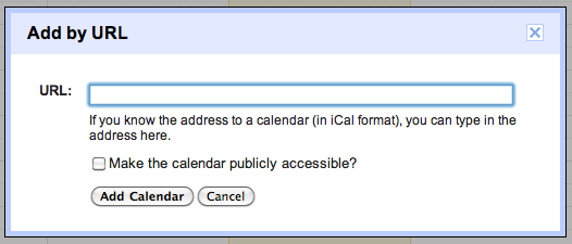 Google Calendar add by url dialog box