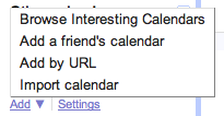 Google Calendar Syncing Add Feed