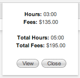 Total Hours and Fees Timecard
